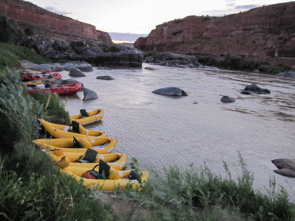 womens trip ruby horsetheif rafts and duckies tied up at camp